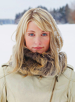 девушка, шарф, мех, зима, снег, блондинка