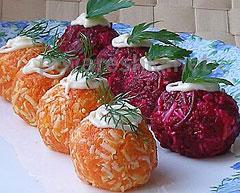 салат в форме шариков