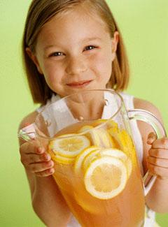 девочка, сок, ребенок, лимон, напиток, бокал