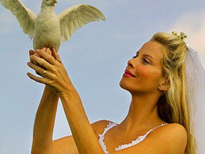 невеста, голуби, свадьба