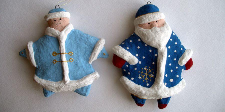 Детские новогодние поделки из папье маше