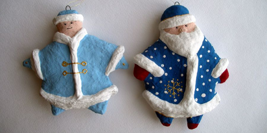 Новогодние поделки - сувениры из папье-маше