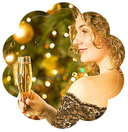 девушка, новый год, елка, бокал, шампанское