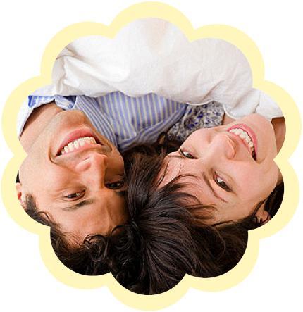 кровать, мужчина и женщина, улыбка, спальня