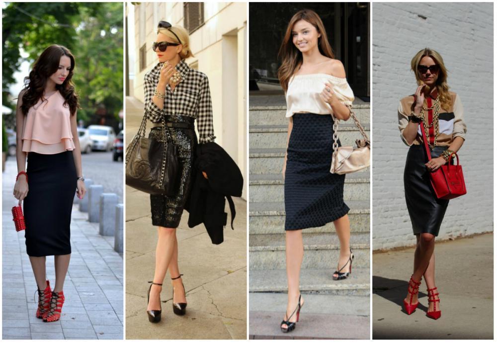 Как носить юбку карандаш с каким каблуком