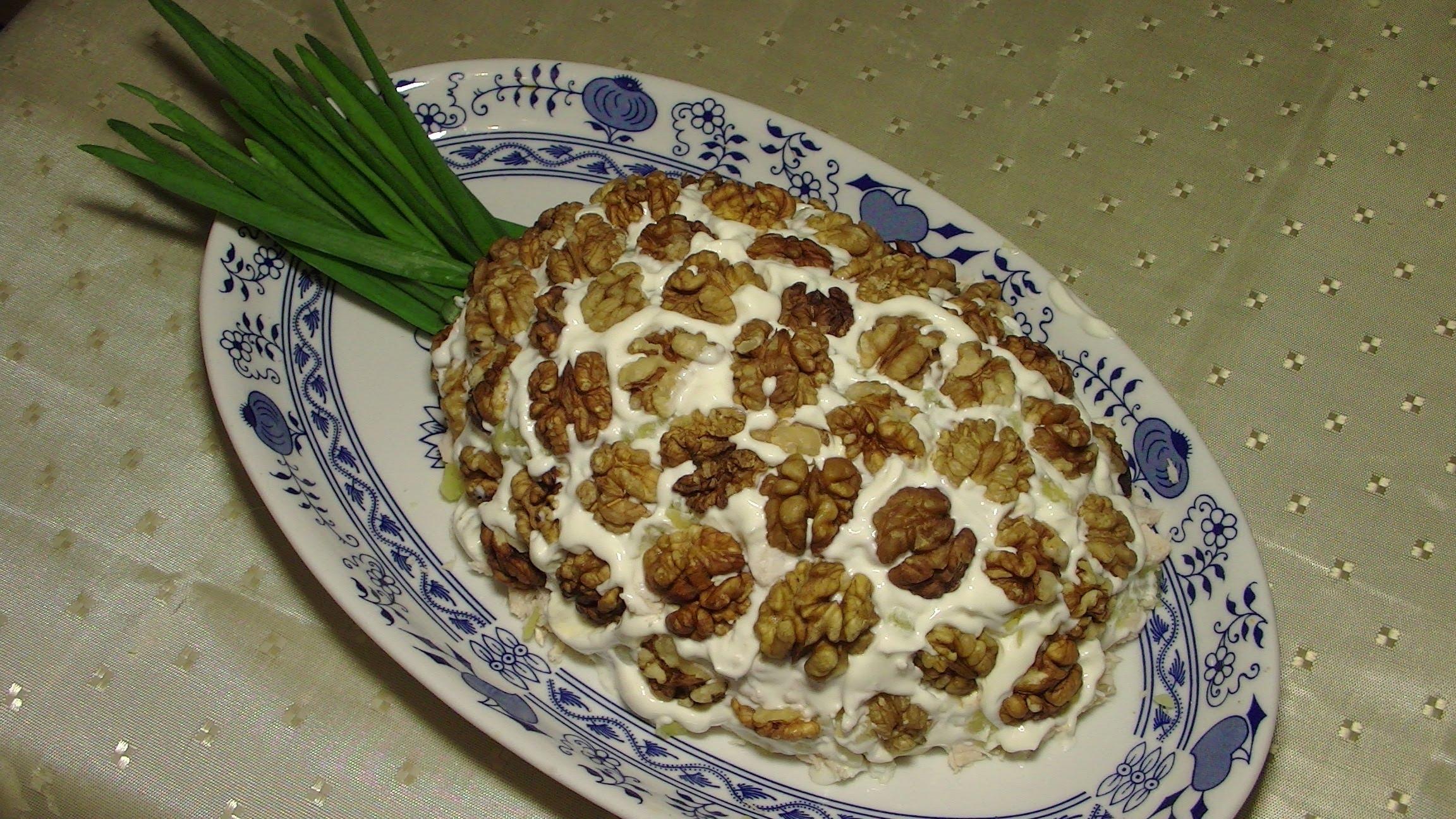 Салат с курицей и ананасами и грецким орехом рецепт с