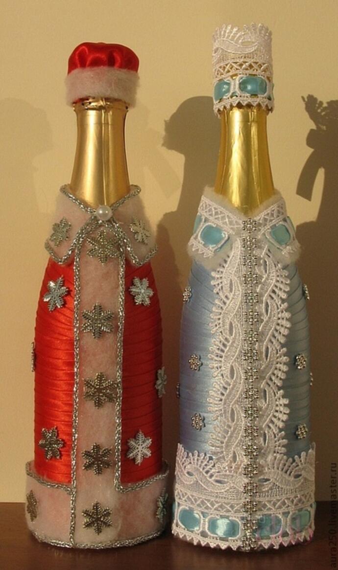 упаковка шампанского с помощью лент