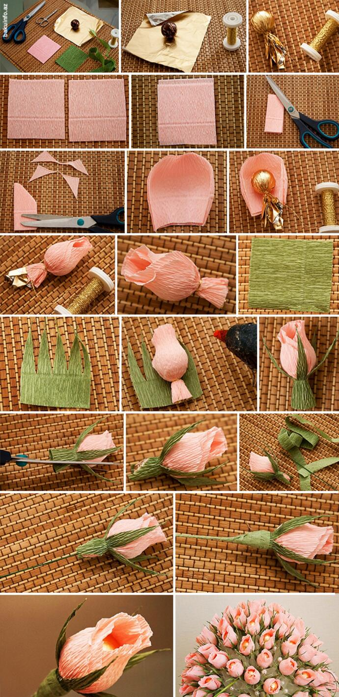 Видео цветы из бумаги с конфетами своими руками