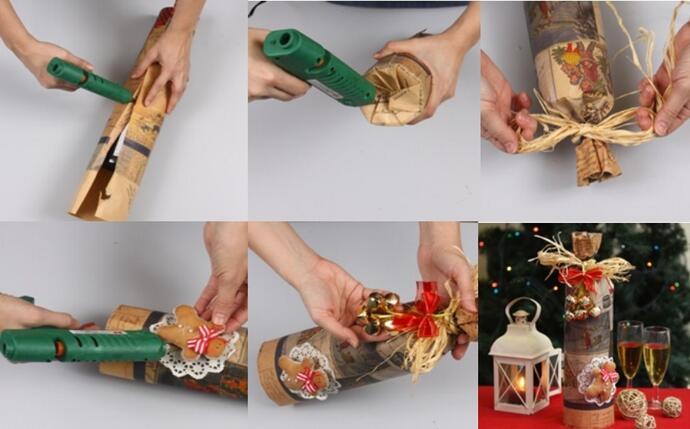 поэтапное украшение бутылки бумагой