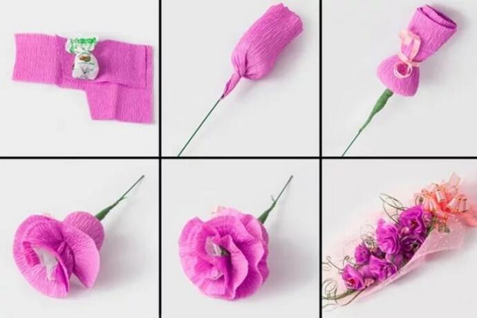 вариант создания цветов из бумаги