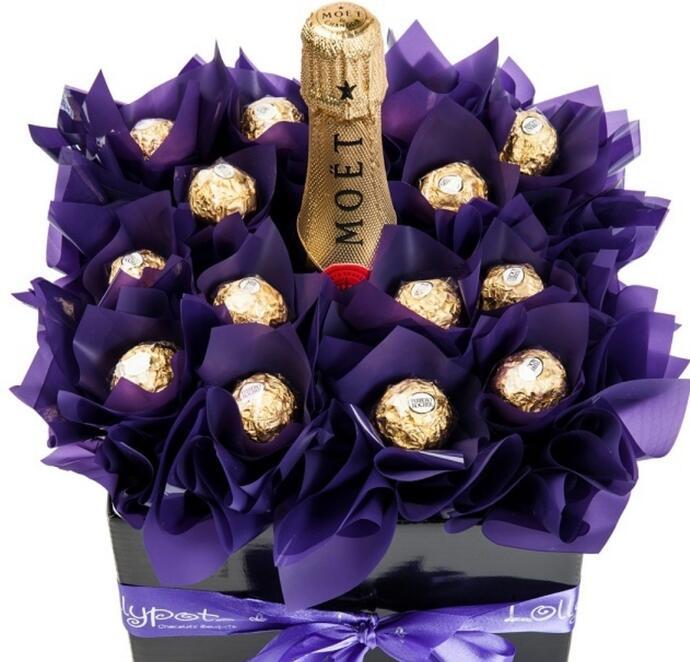 упаковка шампанского и конфет на новый год своими руками