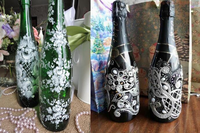 разрисованные бутылки шампанского
