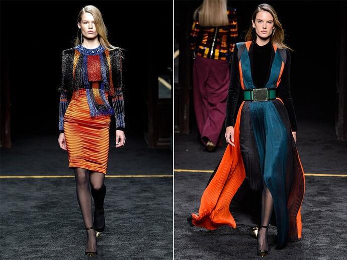 Геометрические сочетания (колор-блокинг) как идея платья на новый год