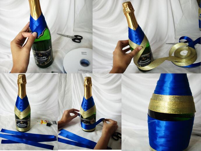упаковка шампанского с помощью лент по шагам