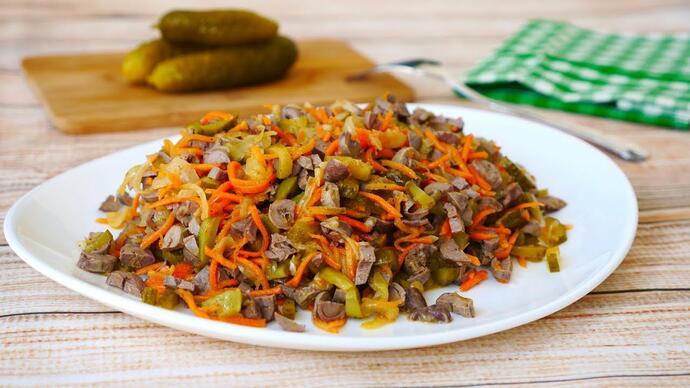 Салат по-корейски с куриными сердечками